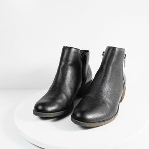 Kensie Women's Black Leather Ankle Boots